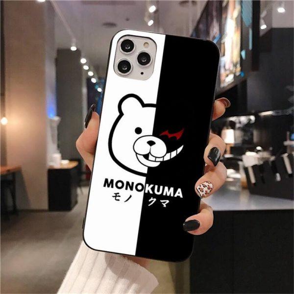 Cute Kumamon Danganronpa Monokuma Soft Silicone Black Phone Case for iPhone 11 pro XS MAX 8 5 - Danganronpa Merch