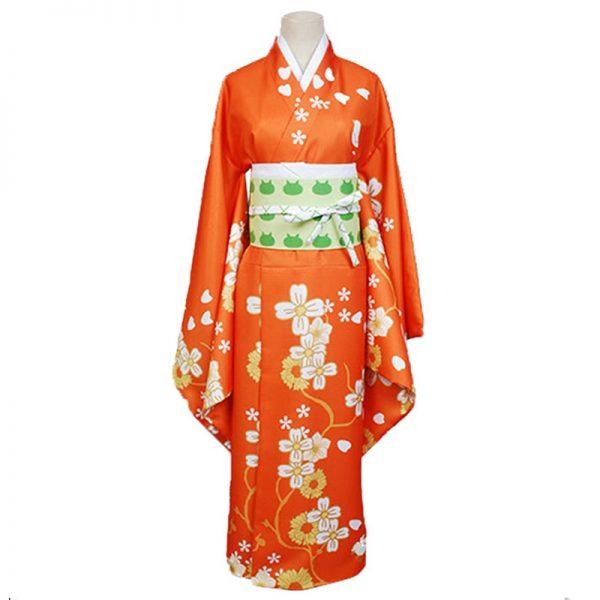 Game Danganronpa 2 Hiyoko Saionji Cosplay Costumes Girls Hiyoko Orange Dress Kimono Sets Hair Wigs For 1 - Danganronpa Merch