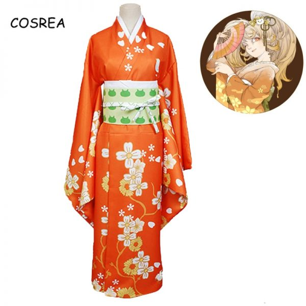 Game Danganronpa 2 Hiyoko Saionji Cosplay Costumes Girls Hiyoko Orange Dress Kimono Sets Hair Wigs For - Danganronpa Merch