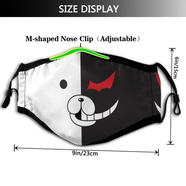 Monokuma Mouth Face Mask DanganRonpa Monokuma Face Facial Mask Fashion Funny with 2 Filters for Adult 1 - Danganronpa Merch